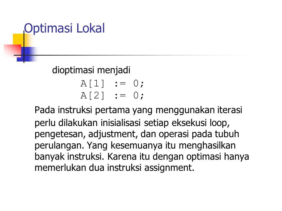 Optimasi Lokal A[1] := 0; dioptimasi menjadi A[2] := 0;